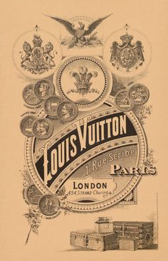 Gorgeous poster.  A 19th-century poster advertising Louis Vuitton's Paris flagship at 1 Rue Scribe and its London location on Charing Cross Road.