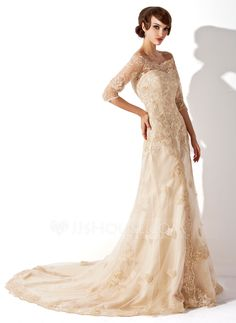 A-Line/Princess Off-the-Shoulder Chapel Train Zipper Up Sleeves 1/2 Sleeves Church General Plus No Winter Fall Champagne Tulle Lace Wedding Dress