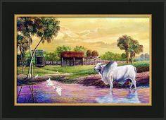 Brahma Bull Framed Print featuring the painting Brahma Bull-a Cattleman's Pride. by Daniel Butler