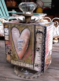 One of my most favorite pieces! - art by Lisa Kaus. Wood Block Crafts, Wood Crafts, Altered Canvas, Altered Art, Mixed Media Canvas, Mixed Media Collage, Box Art, Art Boxes, Decoupage