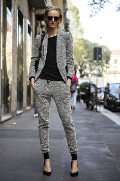 leave it to Daria to make what appears to be a track-suit suit look totally hot. #offduty in Milan. #DariaStrokous