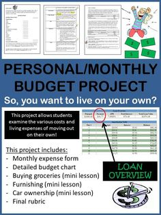 Students learn how to budget while learning the general costs of what they would be expected to pay if they were to live on their own. This is a useful project for students in a career-related course or other subject area where simple math or real life examples are needed. They might change their mind after completing this project!