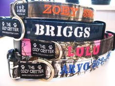 I've been relooking for this website!  custom dog collars. You choose the material and yarn color. Offers many other items and fabrics too. I wanna get the pink camo one for Betty!(;