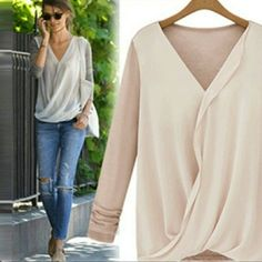 Just in beautiful top. Great top to add to your wardrobe that has gray cotton back and sleeves with a chiffon front. HAVE XS, S, AND M ONLY. Comment on size you need and I will make you a separate listing. Price is firm unless bundled. Tops Tees - Long Sleeve