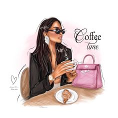 Fashion Artwork, Fashion Wall Art, Megan Hess, Mode Poster, Chanel Art, Cute Girl Wallpaper, Coffee Girl, Digital Art Girl, Fashion Sketches