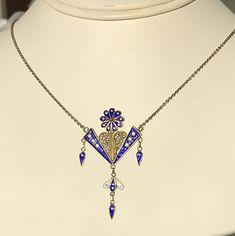 Norwegian antique or vintage enamelled silver gilt pendant
