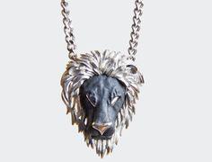 Vintage 60s 70s Large Lion Head Pendant Necklace 1960s 1970s