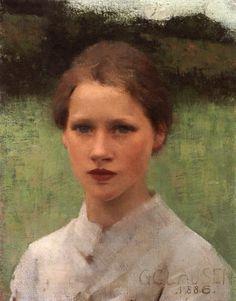 """Sir George Clausen (1852-1944)  A Village Maiden  Oil On Canvas  -1886  25.5 x 20.4 cm  (10.04"""" x 8.03"""")"""