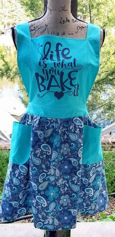 Life is What You Bake It | Ladies Plus Size Farmhouse Apron | Gift Idea for: Baker | Hostess | Wife | Cook | Chef | Bridal | Wedding | #Plussize #aprons #giftsforher #farmhouse