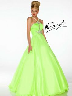 Make a bold statement in this Neon Lime Ball Gown by MacDuggal!