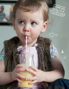Turmeric and Banana Lassi Baby Led Feeding little friends of baby led feeding Addison drinking smoothie Image. A deliciously healthy and creamy smoothie full of yummy goodness. These can also be frozen to make teething pops for babies.