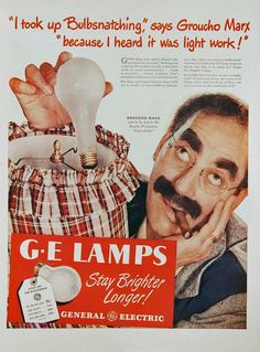 COPACABANA (1948) - Groucho Marx endorses General Electric lightbulbs & plugs his current film.