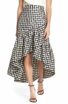 Main Image - Eliza J Ruffle Asymmetrical Skirt Nyc Fashion, Look Fashion, Fashion Outfits, Fashionable Outfits, Gingham Skirt, Ruffle Skirt, Long Skirt Fashion, Derby Outfits, Taffeta Skirt
