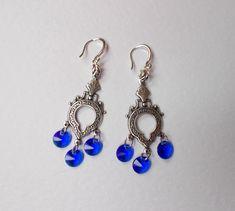 Swarovski Majestic Blue Chandelier Antique Silver Fligree Crystal Vintage Dangle Earrings by RicePaperJewels on Etsy