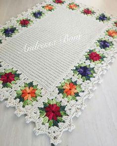 Crochet Edging Patterns, Granny Square Crochet Pattern, Crochet Squares, Crochet Designs, Crochet Home, Crochet Crafts, Crochet Projects, Crochet Sunflower, Crochet Flowers