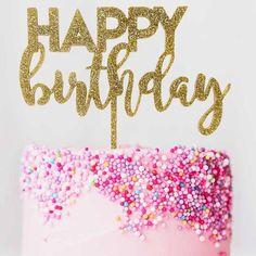 Happy Birthday Mixed Font Cake Topper