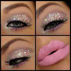 Maquillaje ojos con brillo