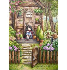"""""""Forest Girl's Coloring Book"""" by ✏ Coloured with Have a lovely Easter break everyone! Cute Girl Wallpaper, Forest Girl, Art Pictures, Photos, Girl And Dog, Anime Scenery, Whimsical Art, Anime Art Girl, Aesthetic Art"""