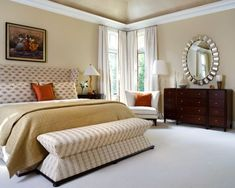 35 Beautiful Bedroom Benches to Complete Your Room  LOVE the bench at the end of the bed and the mirror above the dresser!!!