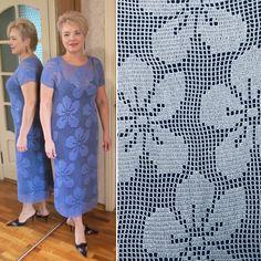 Вязаное платье крючком - Фиалка филейная - Lilia Vignan Gilet Crochet, Crochet Motif, Crochet Stitches, Crochet Top, Crochet Patterns, Crochet Projects, Short Sleeve Dresses, Summer Dresses, Knitting