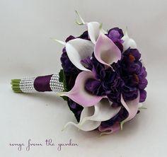 Calla Lily Hydrangea Bridesmaid Bouquet Lavender White Purple Real Touch Calla Lily Hydrangea Wedding Flower Bouquet