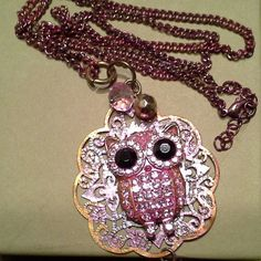 Free Shipping: Owl large Necklace with  round black eyes, Unique, Pink Owl, Elegant and Fun Necklace, Rhinestone owl,