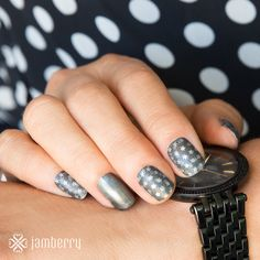 "I really like this pairing from the fall/winter 2015 Jamberry catalog. This is a wrap called ""fame"" paired with our lacquer called ""gun metal"" - gorgeous! http://joannaadkins.jamberry.com"
