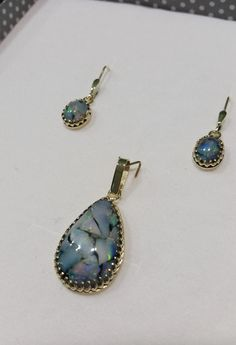 Slovakian opal. handmade earrings and pendant 585/1000. precious opal - Slovakian opal. mosaic