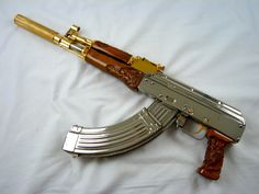 Custom AK47  7.62×23 bright mirror polish nickel
