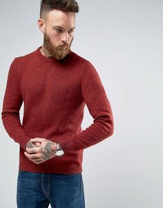 ASOS Lambswool Rich Crew Neck Sweater in Red Twist - Red