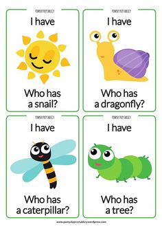 Spring card game English ideas for kids