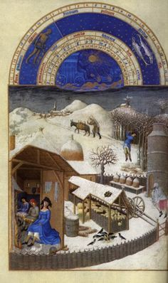 Tres riches heures du Duc de Berry (February) 1413-1416  I love this image of rural late medieval life with the malt brewing and the sheep all tucked up in the sheepcote.