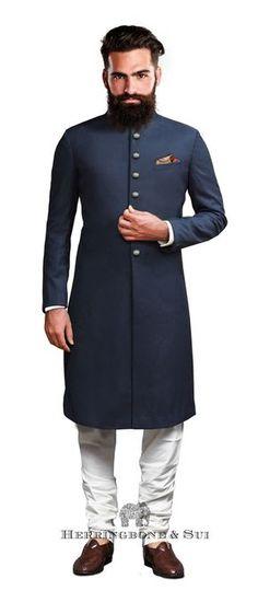 dark blue sherwani, bandhgala kurta, white pajama- something glittery In the pocket square Wedding Dress Men, Indian Wedding Outfits, Wedding Suits, Indian Outfits, Blue Sherwani, Sherwani Groom, Indian Men Fashion, Mens Fashion, Suit Fashion