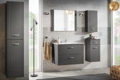 Set Mobilier pentru baie, 6 piese, Sophia Cement XL #homedecor #inspiration #bathroom #decor #bath #furniture Bathroom Furniture, Double Vanity, Flooring, Interior, Modern, Mai, Cement, Design, Home Decor