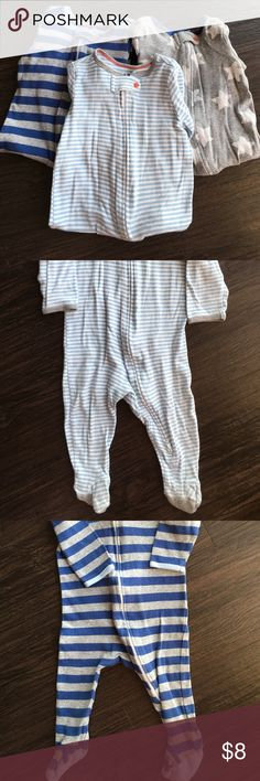 Cat & Jack 3 One Piece Boys Size 6-9 months Like new. Zip front. Light blue/white striped, grey with stars, blue/grey stripe. Cat & Jack One Pieces