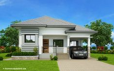 The house in off-white and grey shades has clean with refined edges. This Begilda – Elevated Gorgeous Modern Bungalow House is absolutely amazing. Modern Bungalow House Design, Simple House Design, House Front Design, Home Design, Modern Bungalow Exterior, Small Bungalow, Design Ideas, Bungalows, Filipino House