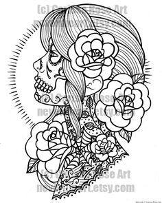 Book Outline Page - Sugar Skull Girl Tattoo Flash by Carissa Rose Skull Coloring Pages, Detailed Coloring Pages, Flower Coloring Pages, Mandala Coloring Pages, Coloring Pages To Print, Free Coloring Pages, Coloring Books, Printable Adult Coloring Pages, Coloring Pages For Girls