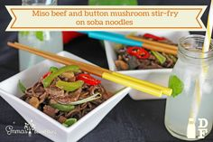Miso beef and button mushroom stir-fry on soba noodles Mushroom Stir Fry, Soba Noodles, Beef Dishes, Stuffed Mushrooms, Meals, Button, Dinner, Recipes, Food