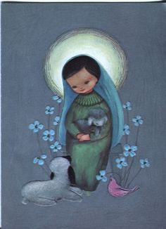Christmas •~• Mary with Lambs and Dove vintage greeting card