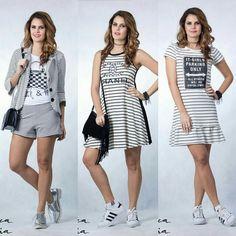 Que tal começar a semana com um desses looks  Conjunto blazer e short listrado Vestido Chanel listrado Vestido listrado charmoso Arrasou👏👏👏👌👌👌 #conjuntolistrado #vestidolistrado  #tendencia  #supernamoda