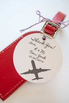 Luggage tags that you can use as wedding favors and/or escort cards! Customize your's here: https://www.etsy.com/shop/lovetravelsfavors
