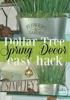 Decorate for spring with this easy dollar store hack dollar tree farmhouse spring decor. Dollar Store Hacks, Dollar Stores, Thrift Stores, Wine Bottle Crafts, Mason Jar Crafts, Mason Jar Diy, Dollar Tree Decor, Dollar Tree Crafts, Dollar Tree Flowers