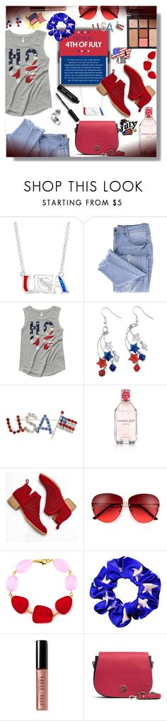 """""""Celebrating July 4th - Contest!"""" by sarahguo ❤ liked on Polyvore featuring Essie, Topshop, Tommy Hilfiger, Jeffrey Campbell, Bobbi Brown Cosmetics and Charlotte Tilbury"""