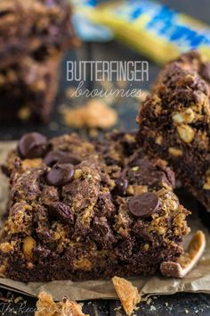 Butterfinger Brownies at http://therecipecritic.com  These delicious and moist brownies are packed with delicious Butterfinger pieces!