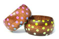 Super fun & flirty bracelets! #PolkaDot Wood #Bangle by @vozcollective on #Etsy