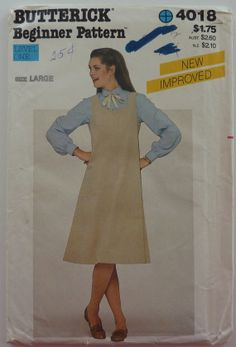 Sewing Pattern Butterick 4018 - Women's Jumper, 1970s-1980s Fashion Style - Size Large - UNCUT