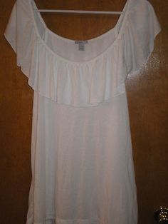 Old Navy White Ruffle Summer Shirt  Blouse Top Size XXL (2X)