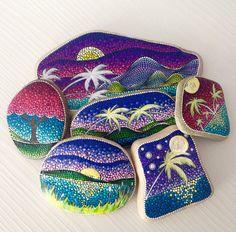 Big Sunset Dot Art Painted stone painted rock Fairy garden