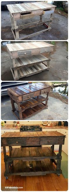 Pallets Wood Made Kitchen Island - 101 Pallet Ideas  Pallet Projects