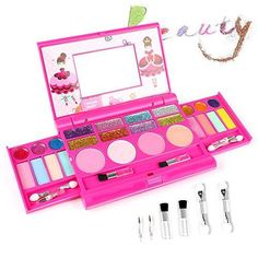 AMOSTING Real Makeup Toy For Girls Pretend Play Cosmetic Set Make Up Toys Kit Gifts for Kids - Pink